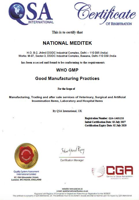 National Meditek Who Good Manufacturing Practice Gmp Certification